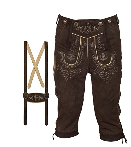 TR Martha - Pantalones de traje típico bávaro Lederhose (piel, para hombre, con tirantes, tallas: 46-60), color marrón oscuro