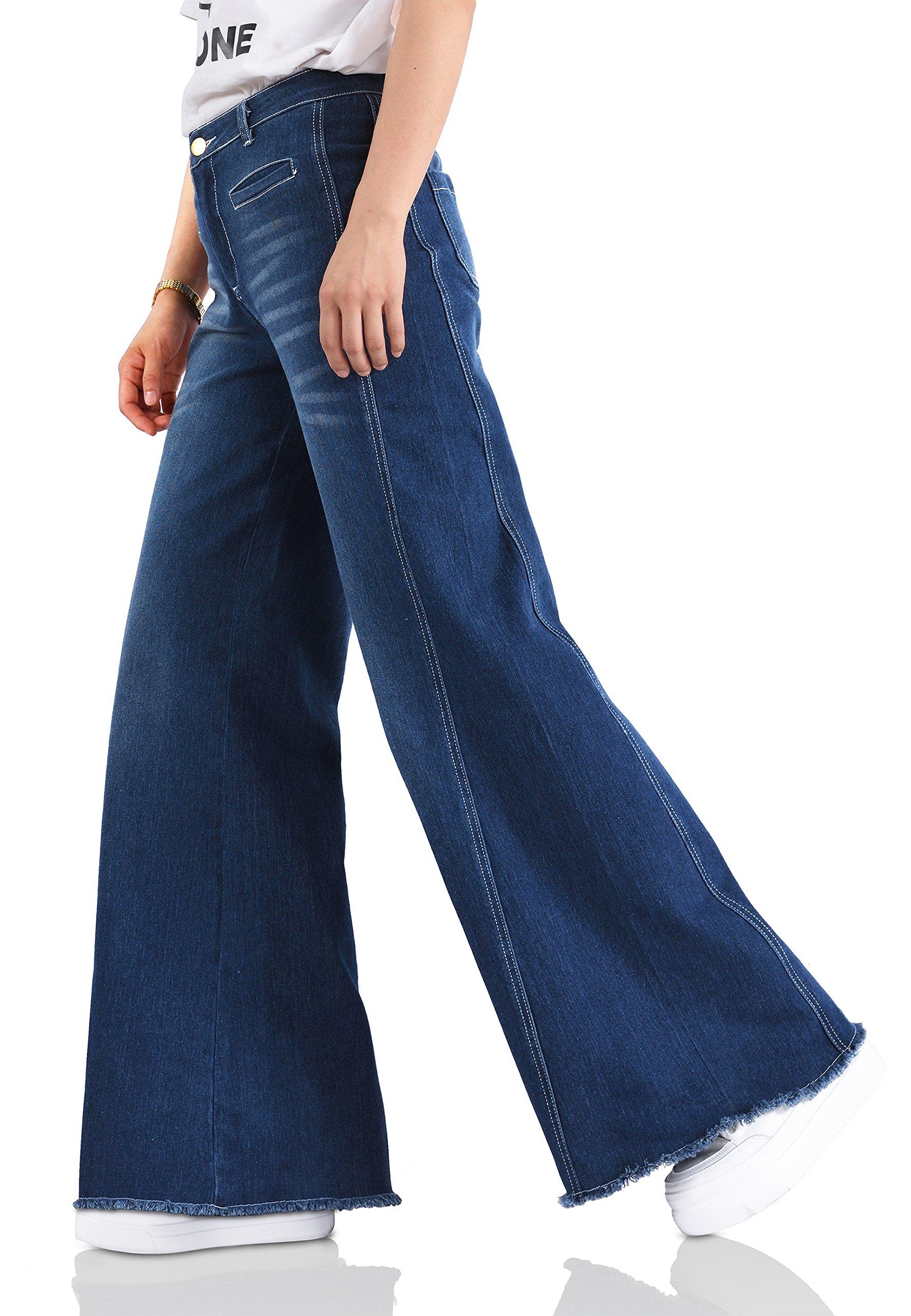 ABCWOO Womens Wide Leg Flared Jeans Stretchy High Waist Bell Bottoms Denim Pants Blue M