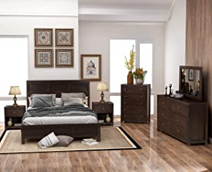 SOFTSEA Brown 6 Pieces Wood Bedroom Furniture Set Queen Size Philippe Style, Matching Queen Size Bed, Dresser, 5 Drawer Chest, Mirror & 2 Nightstands (Brown, Queen)