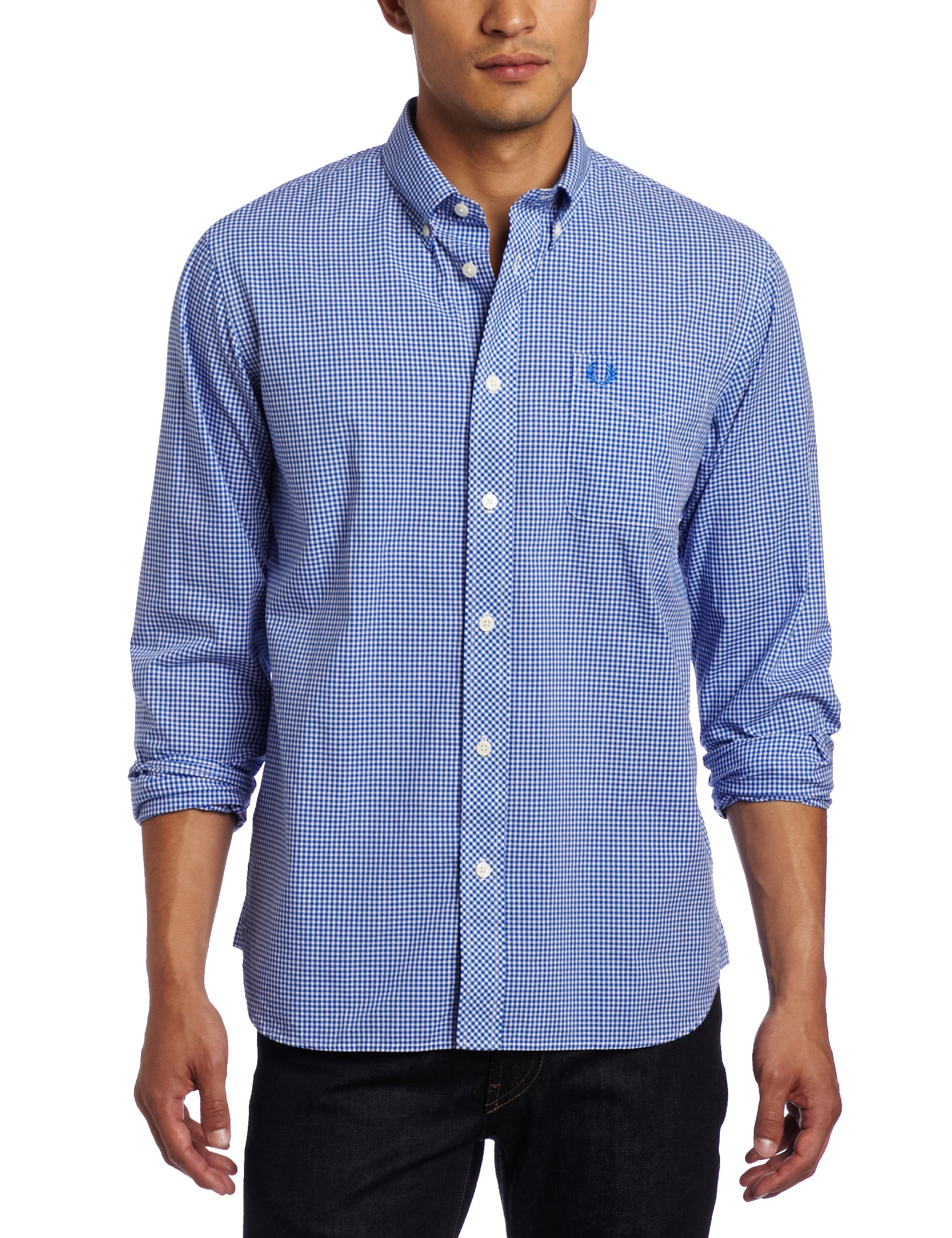 Fred Perry Men's Gingham Shirt, Olympian Blue, Medium