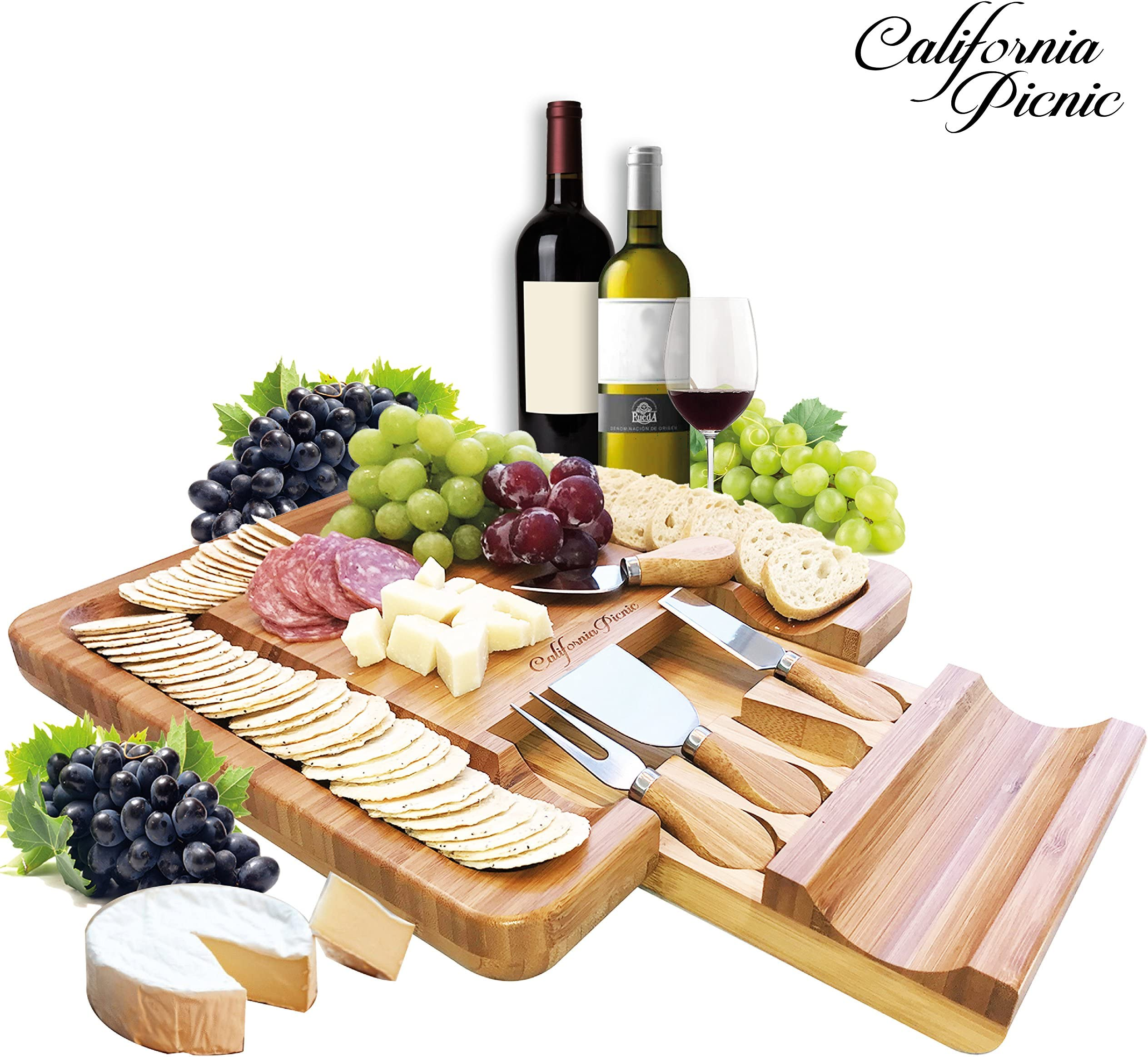Cheese Board and Knife Set | Charcuterie Board | Bamboo Cheese Tray with Cheese Knives Sets  sc 1 st  Amazon.com & Amazon.com: Cheese Plates: Home \u0026 Kitchen