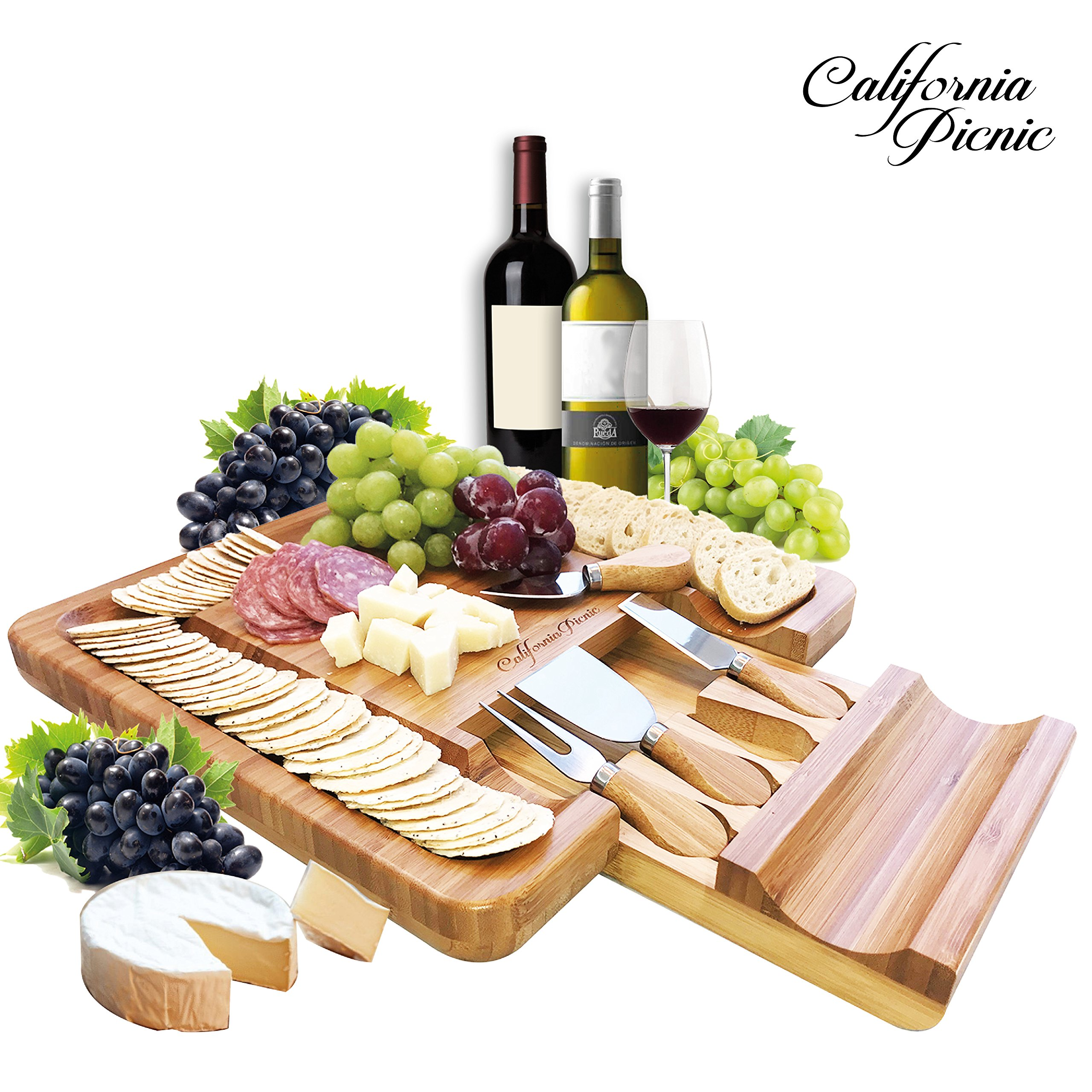 Cheese Board and Knife Set   Charcuterie Board   Bamboo Cheese Tray with Cheese Knives Sets   Large Wooden Cheese Plate and Cheese Platter Board Set   Cheeseboard Gift Set 50th Birthday   Wedding Gift