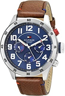 Tommy Hilfiger Mens Quartz Stainless Steel and Leather Casual Watch, Color:Brown (Model