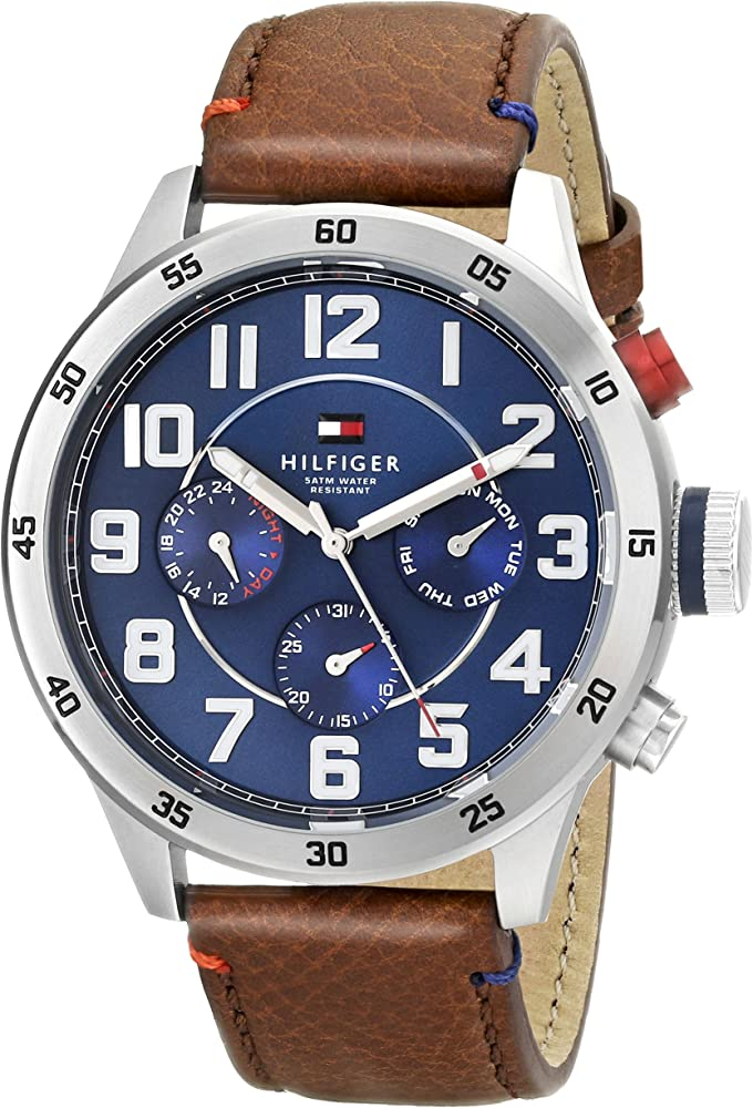 550e60cd Tommy Hilfiger Men's 1791066 Stainless Steel Watch with Brown Leather Band