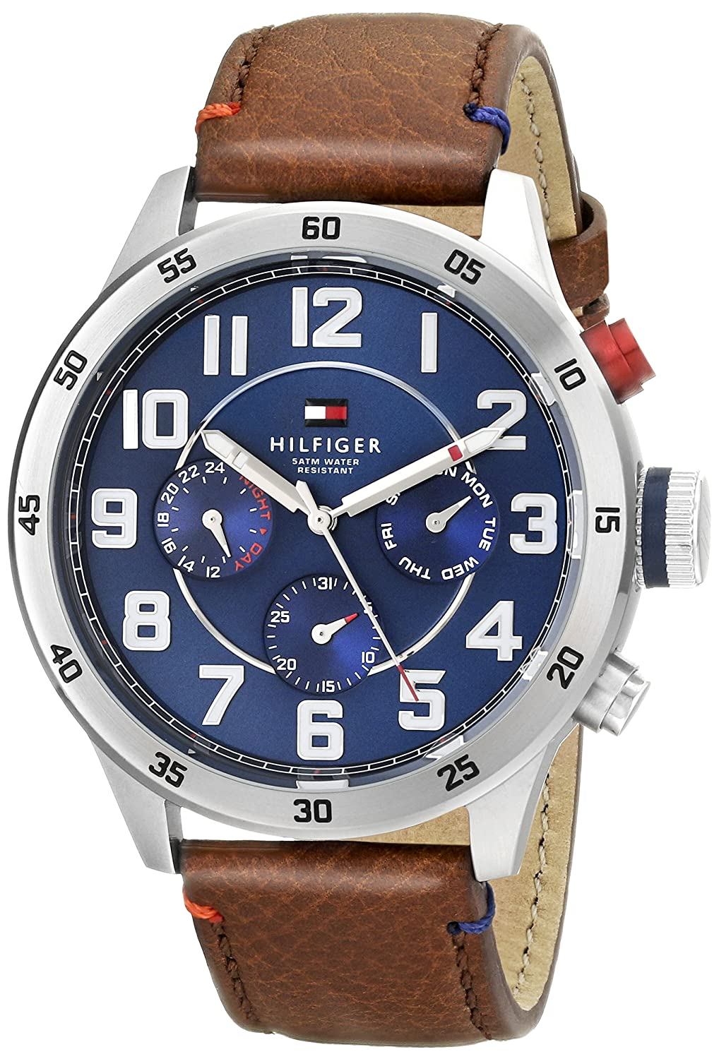 Tommy Hilfiger Men 1791066 Stainless Steel Watch with Brown Leather Band