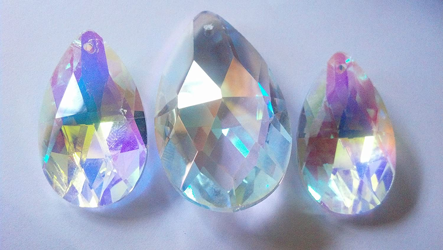 Amazon pack of 3 38mm and 50mm chandelier crystals almond amazon pack of 3 38mm and 50mm chandelier crystals almond teardrop crystal ab iridescent aurora borealis suncatchers garden outdoor arubaitofo Image collections