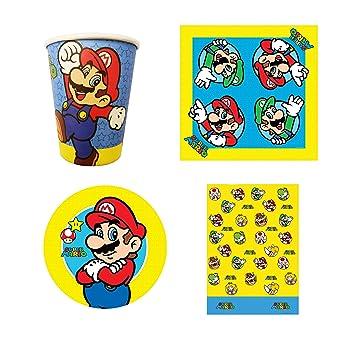 Nintendo Super Mario Bros - Juego de Platos y Vasos de Papel ...