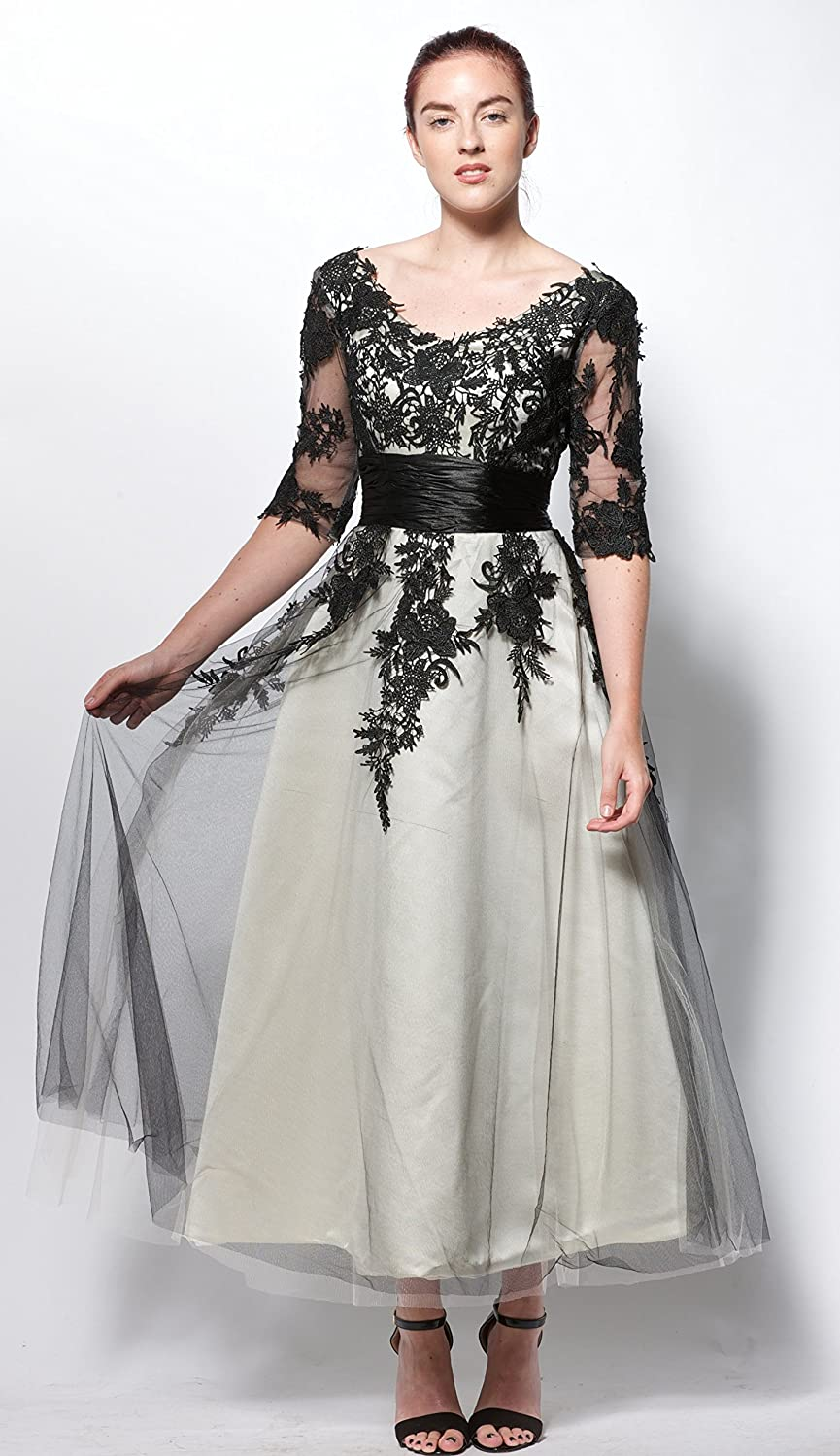 atopdress@w49 lace sleeve satin Ball Evening prom sequined gown dress (10, black cream): Amazon.co.uk: Clothing