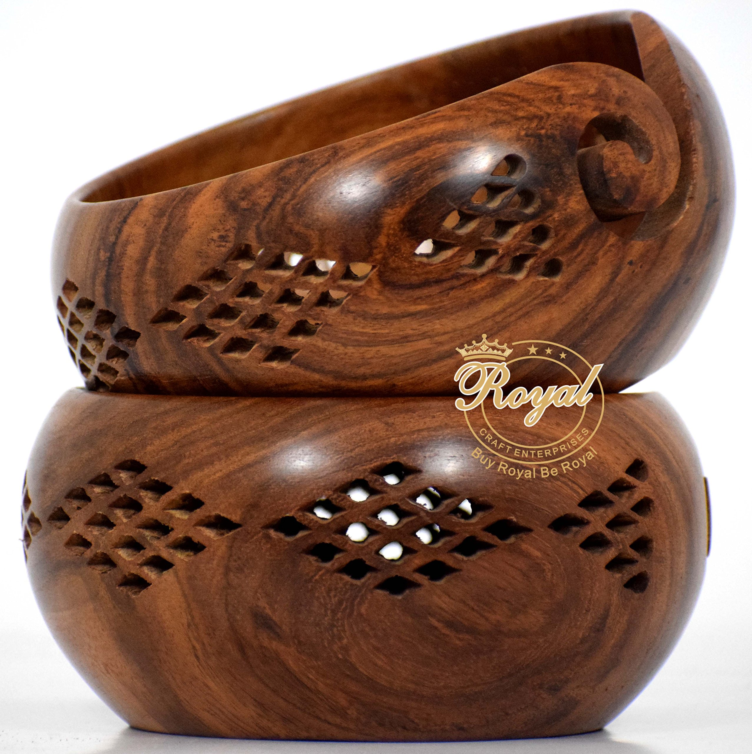 Rosewood crafted wooden yarn storage bowl knitting crochet accessories With Carved Holes & Drills Royal Craft Enterprises (7 X 7 X 4 inch)