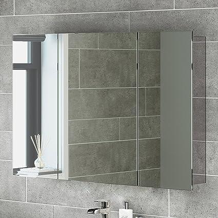 iBath - Armario de pared (3 puertas. acero inoxidable y espejo 5047edb9424b