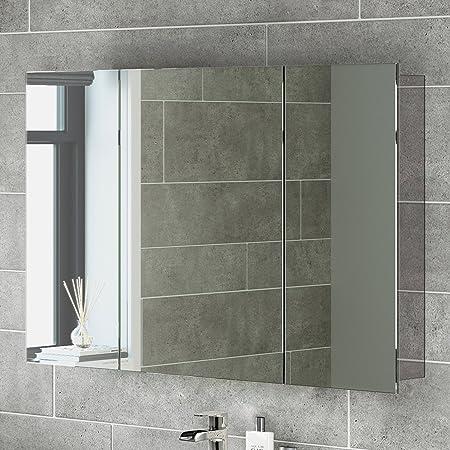 600 X 900 Stainless Steel Bathroom Mirror Cabinet Modern Triple Door Storage Unit