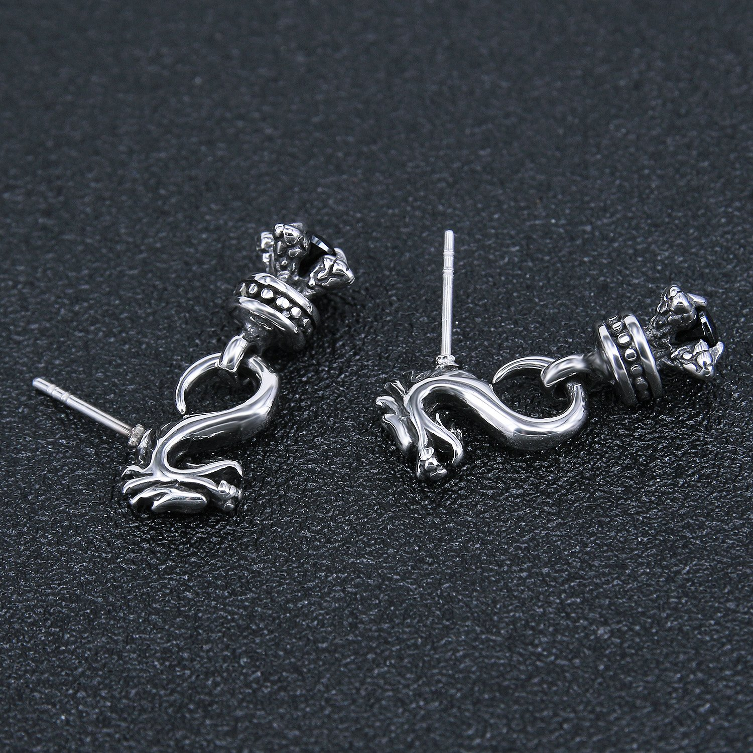 Vintage Sword Skull Rose Drop Dangle Stud Earrings 316L Surgical Steel Punk Cartilage Earrings Mens Women (Dragon Style) by PiercingCool (Image #4)