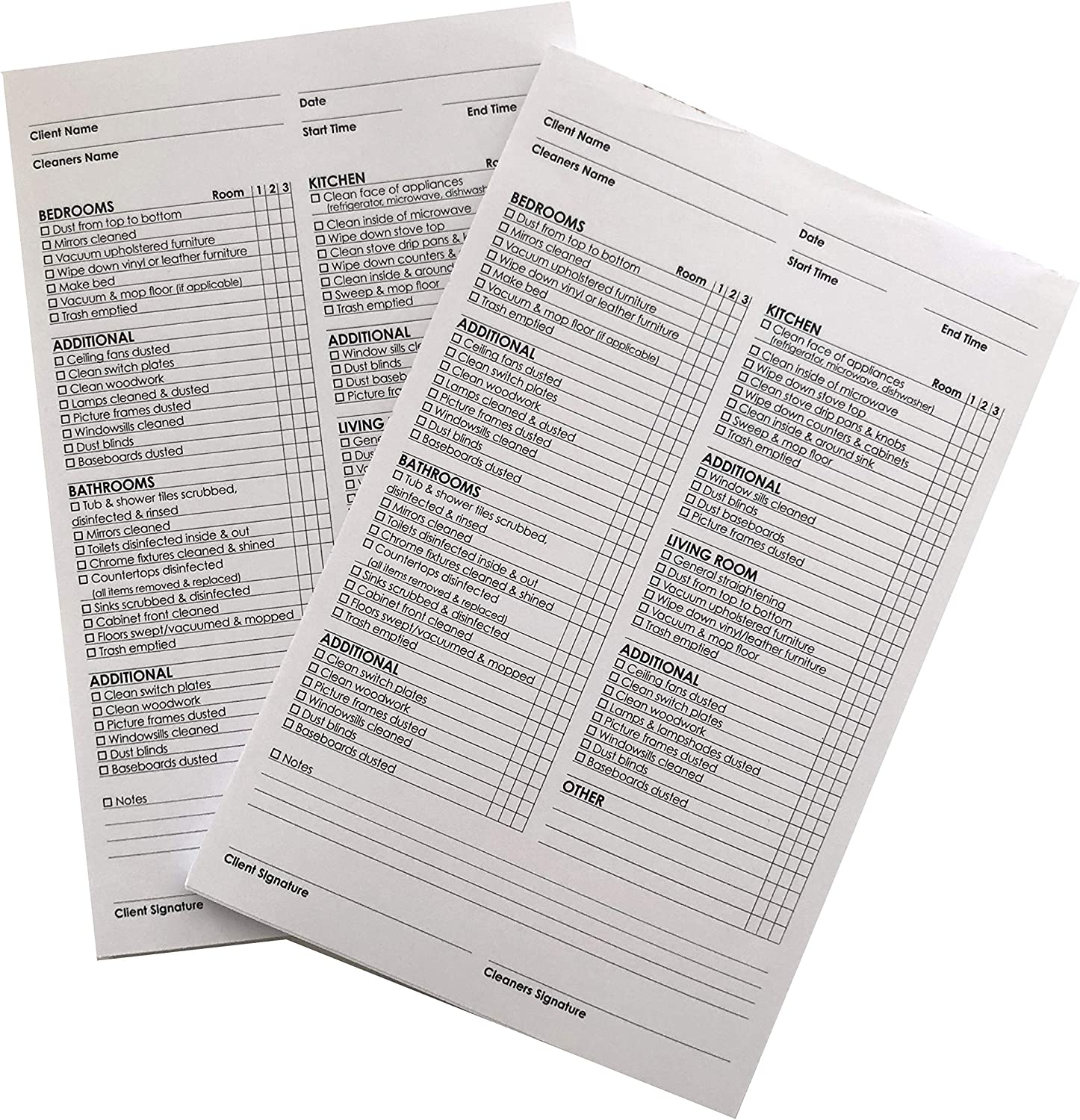 Housekeeping Maid Checklist 2 Pack. Fantastic for Maid Services Room by Room and Chores