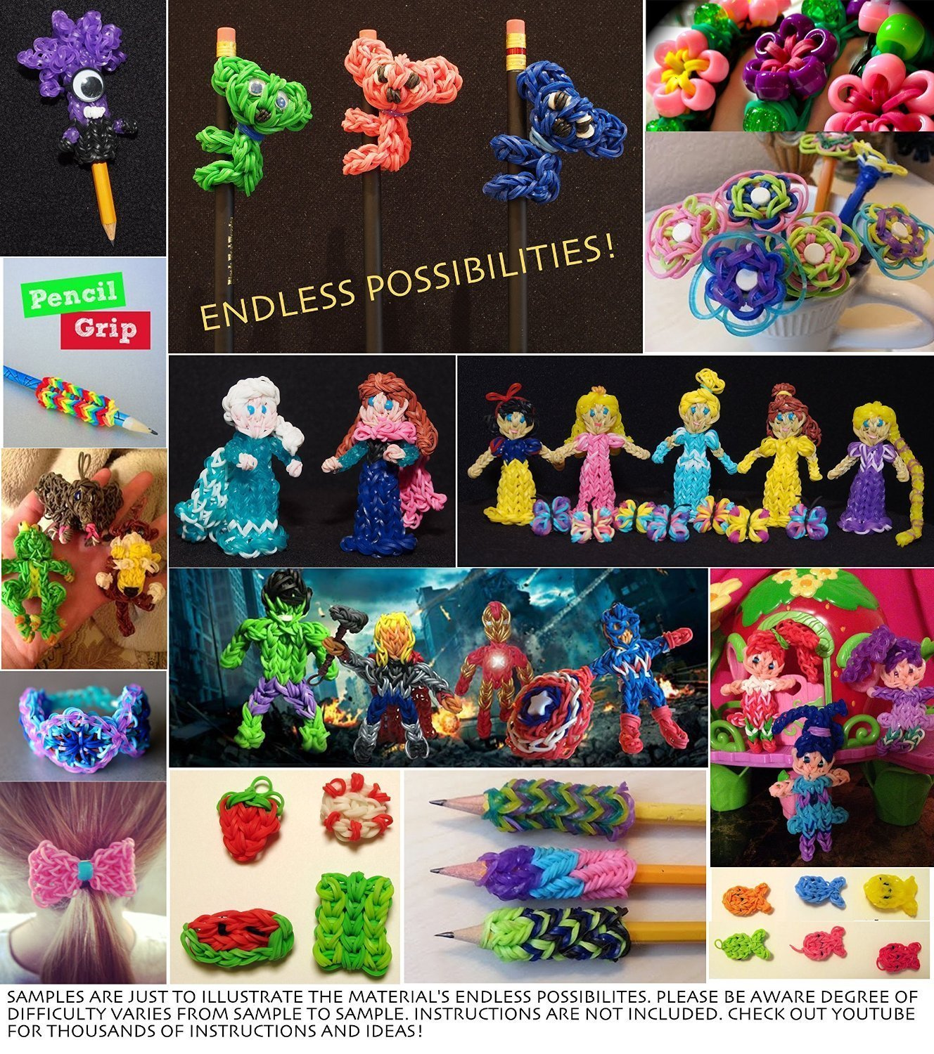 The Originall Rainbow Loom, Colorful Loom Kits for Kids Weaving DIY Crafting with 6800pcs(22 Colors), 50 Beads, 10 Small Hook, 10 Charms,100 S Clips,1 Big Crochet,2 Big Hook, 4 Y-Shape Looms