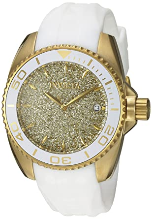 Invicta Womens Angel Quartz Stainless Steel and Silicone Casual Watch, Color White (