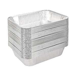 AmazonCommercial Aluminum Foil Steam Pan, 1/2 Size, Pack of 50