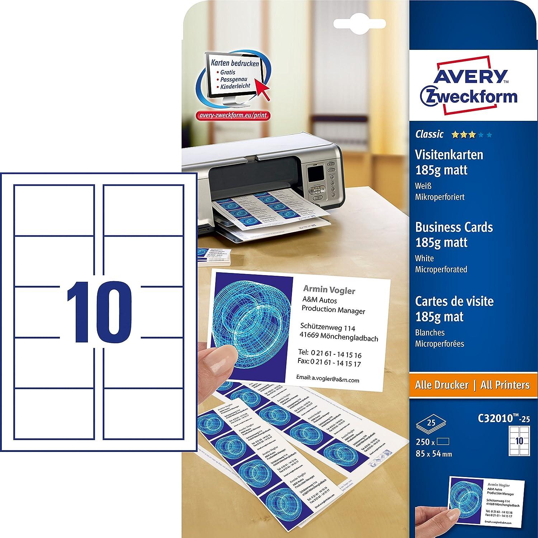 100 St/ück DIN A4 250 St/ück, 85 x 54 mm, beidseitig bedruckbar, matt, 25 Blatt 80 mikron /& Peach PP580-02 Laminierfolien AVERY Zweckform C32010-25 Classic Visitenkarten