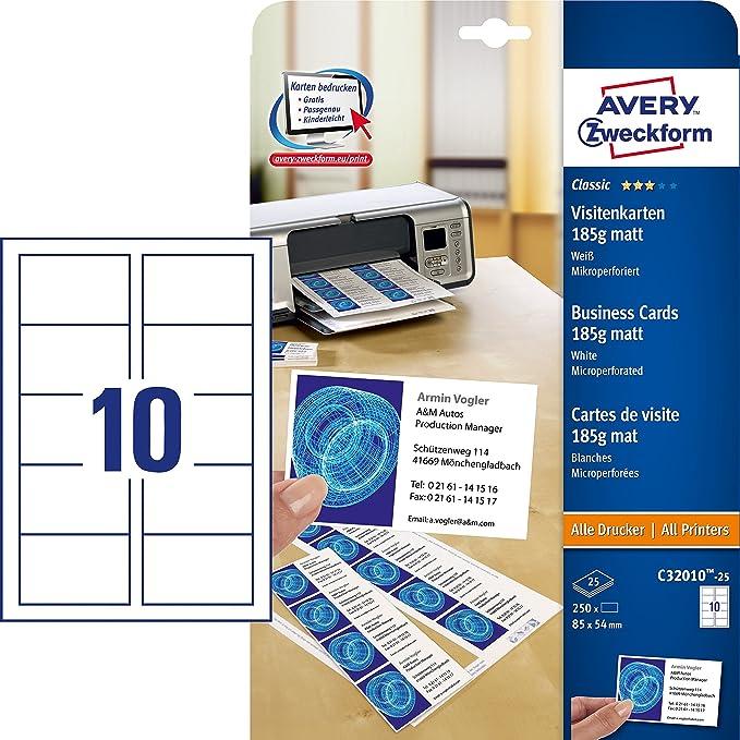 AVERY Zweckform C32010 25 Classic Visitenkarten 250 Stuck 85 X 54 Mm Beidseitig Bedruckbar Matt Blatt Amazonde Burobedarf Schreibwaren