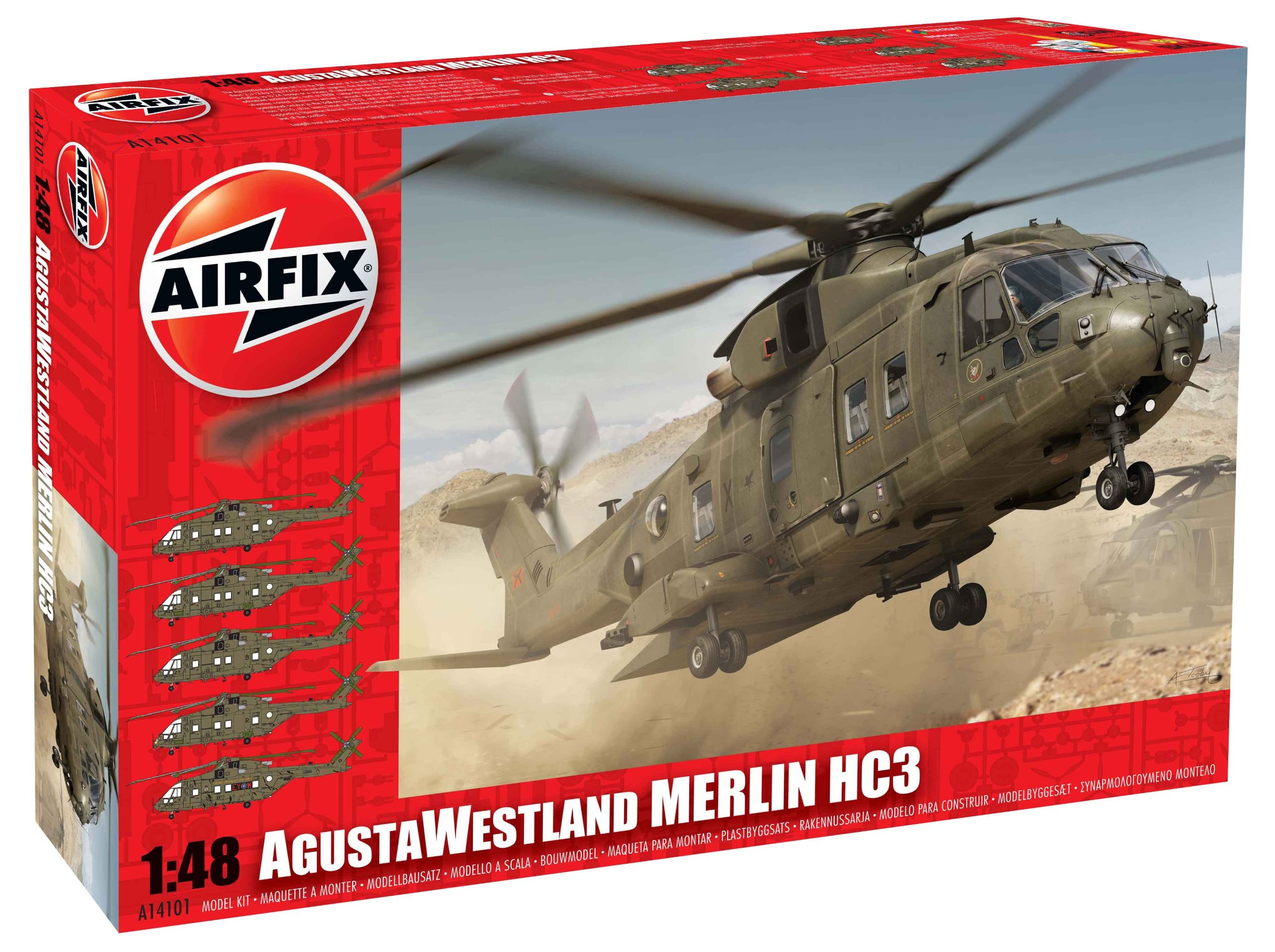 Airfix Augusta Westland Melin HC3 Helicopter Building Kit, 1:48 Scale