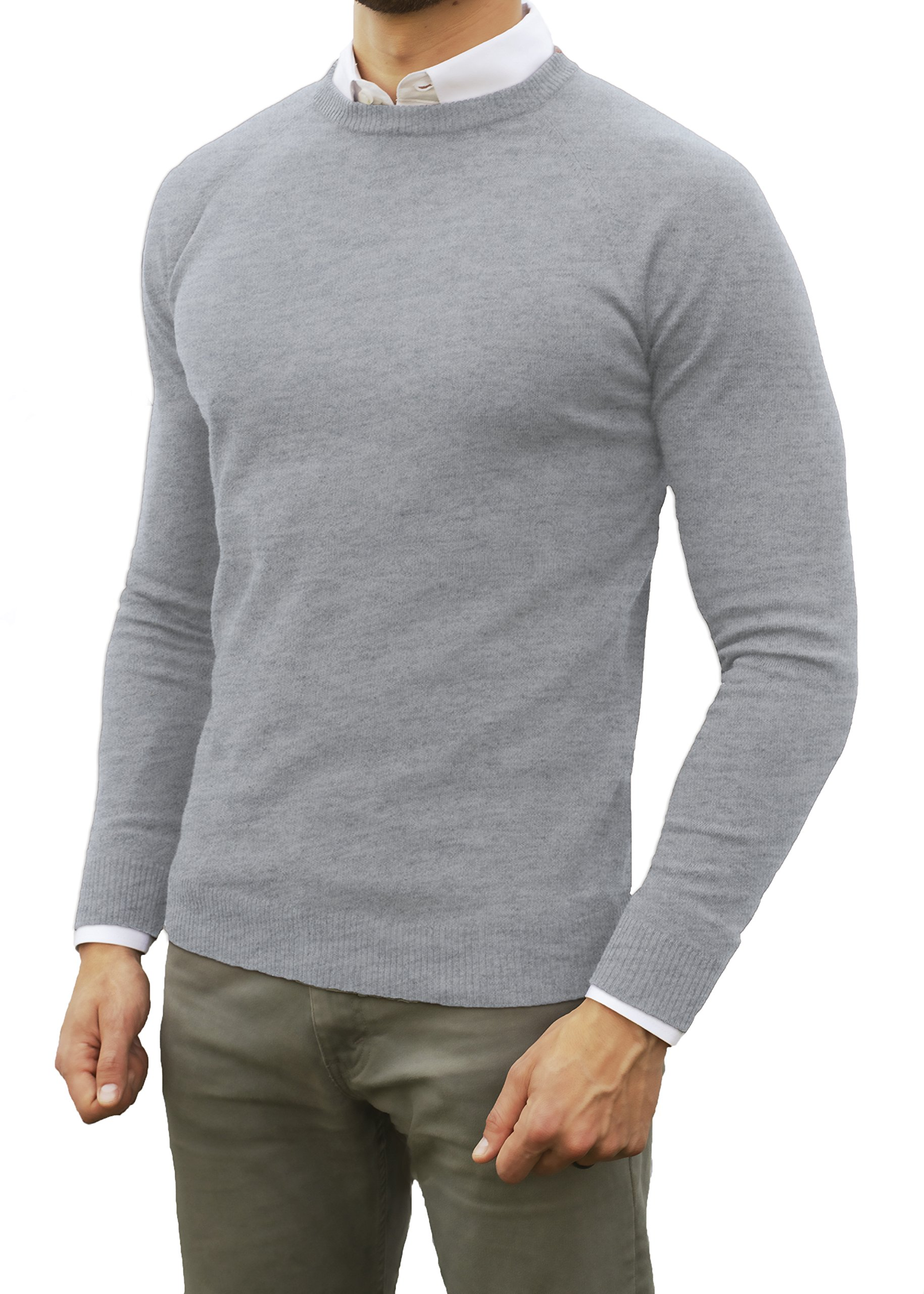 Comfortably Collared Men's Perfect Slim Fit Light Weight Crew Neck Pullover Sweater (Medium, Heather Grey)