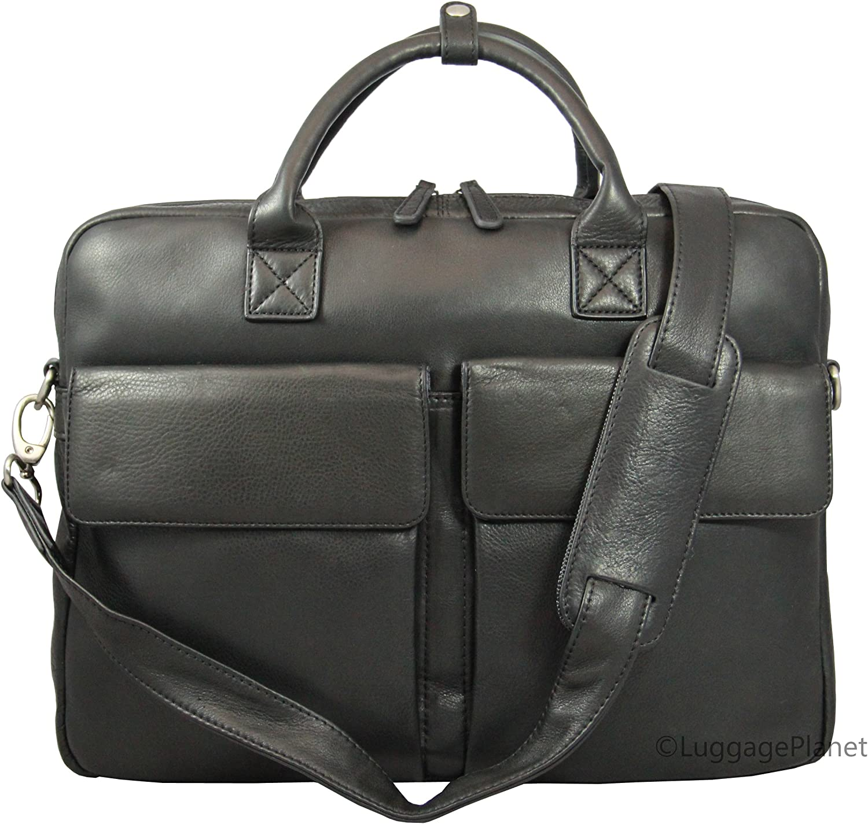 Osgoode Marley Shane Slim Leather 15.6 Laptop Briefcase – Black