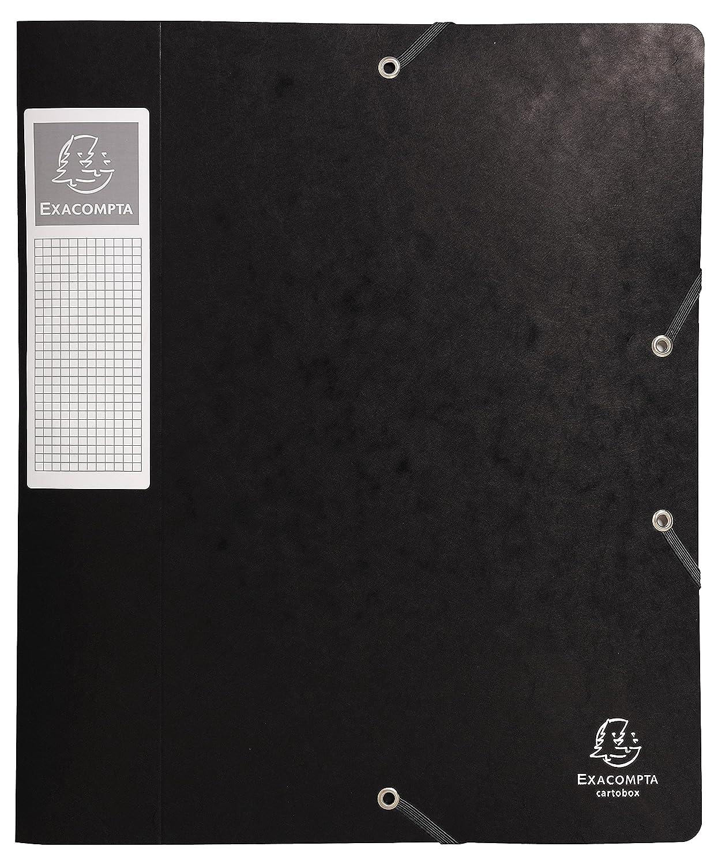 Exacompta – Lote de 10 carpetas 3 solapas y elástico Cartobox ancho de 6 cm (cartulina brillante 7/10e surtidos (negro, verde, amarillo, azul, rojo), ...
