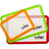Silicone Baking Mat Set - Professional Heat-Resistant Non Stick Mats & Liners for Cookie Sheets by Lavangie™ (3 color pack)