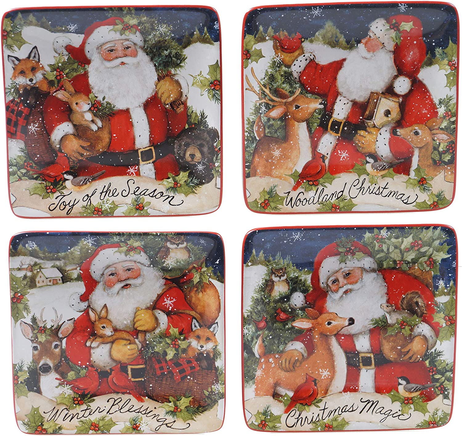 """Certified International Magic Of Christmas Santa 6"""" Canape/Luncheon Plates, Set of 4, Multicolored"""