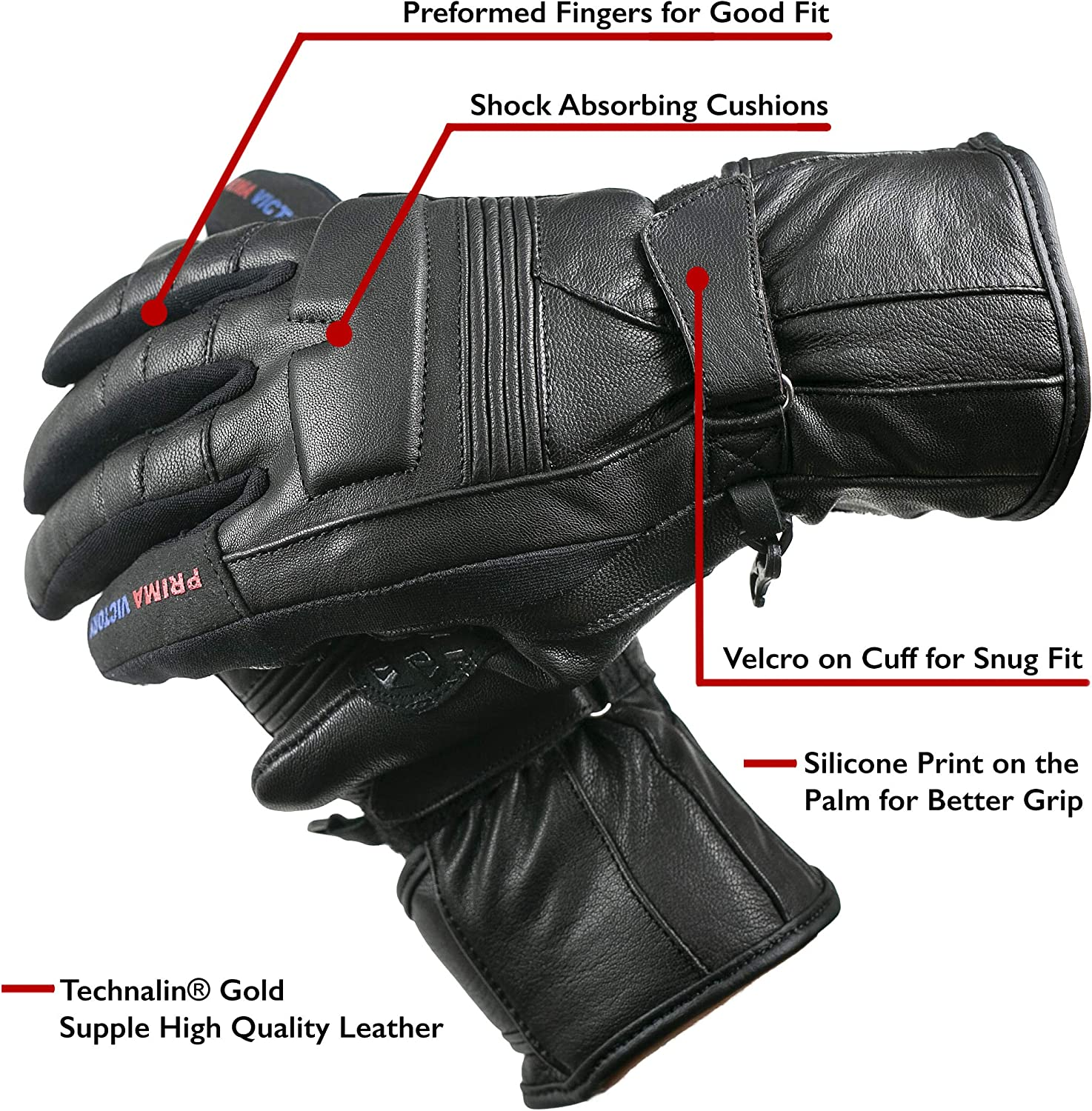 LEO All-Season All Purpose Aniline Goat Leather Gloves for Women with EASA Foam Padded Knuckles
