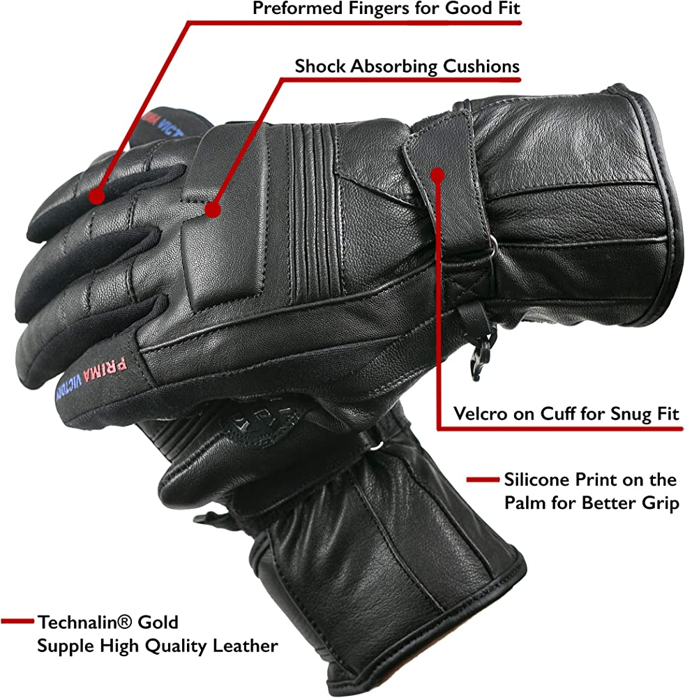 LEO All-Season All Purpose Motorbike Leather Gloves for Men with EASA Foam