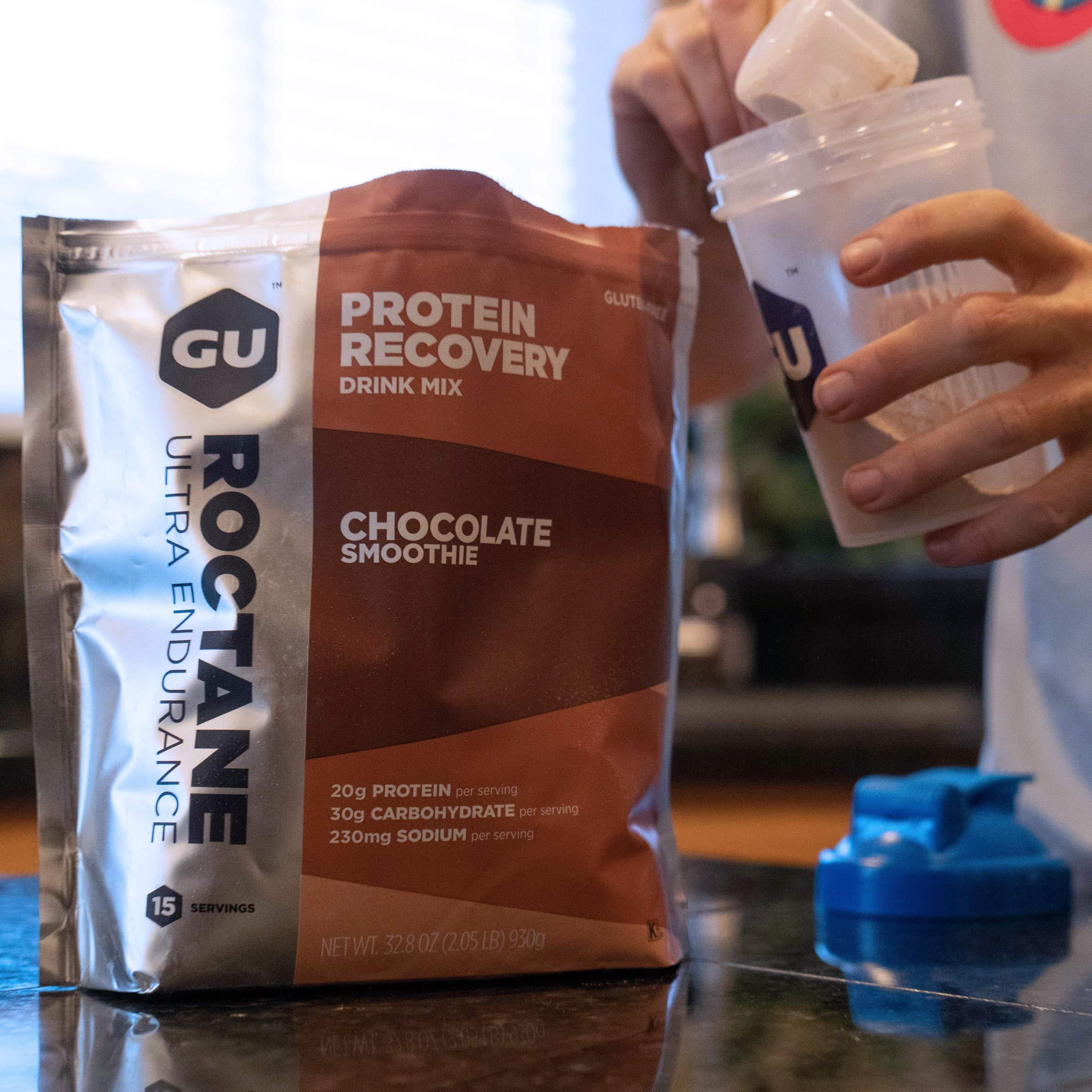 Gu Energy Roctane Ultra Endurance Protein Recovery Drink Mix, 15-Serving Pouch, Chocolate Smoothie by GU Energy Labs (Image #2)
