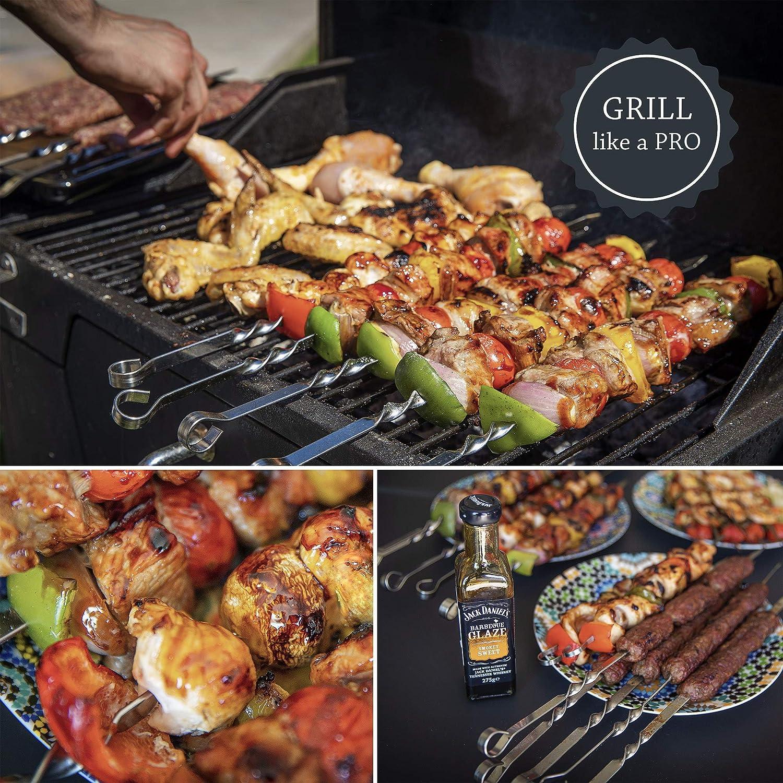 ZEEAP Grilling Skewers Stainless Steel Premium 17 Inch Flat Long Reusable Metal Sticks and Bonus Heat Resistant Anti-Slip BBQ Gloves for Cooking Kabob Meat Shrimp Chicken Vegetable Shish Kebab