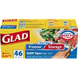 Glad Food Storage Bags, 2 in 1 Zipper, Quart, 46 Count
