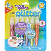Tinta Guache Bisnaga Glitter, Tris, 7897476681306, Multicor, pacote de 6