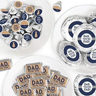 product image for Big Dot of Happiness My Dad is Rad - Mini Candy Bar Wrappers, Round Candy Stickers and Circle Stickers - Father's Day Party Candy Favor Sticker Kit - 304 Pieces
