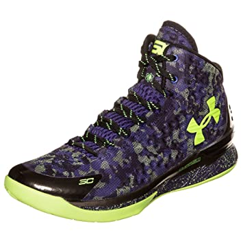 83d2b086b20 Image Unavailable. Image not available for. Color  Under Armour Curry 1  Dark Matter Sz 14 Black Purple Volt All Star ...