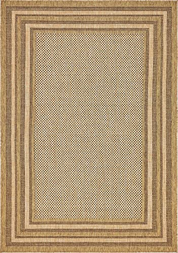 Unique Loom Outdoor Border Collection Solid Casual Transitional Indoor and Outdoor Flatweave Light Brown Brown Area Rug 6 0 x 9 0