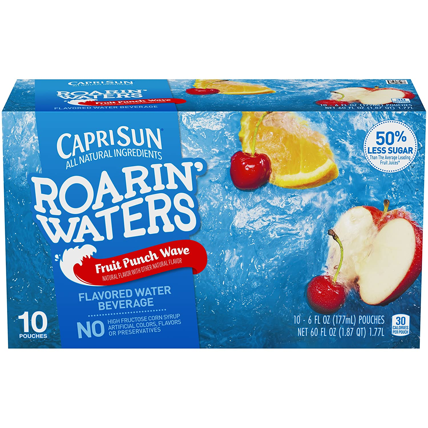 Capri Sun Roarin' Waters Fruit Punch Ready-to-Drink Juice (40 Pouches, 4 Boxes of 10)