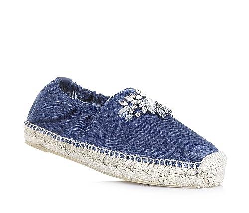TWIN-SET - Alpargatas de esparto de denim, caprichosa y de moda, con borde elástico, Niña, Chica, Mujer: Amazon.es: Zapatos y complementos