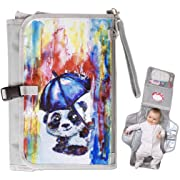 Portable Baby Diaper Changing Pad Station Clutch with Matching Pacifier and Toy Case Strap and Pouch Bag (Special Edition Panda)