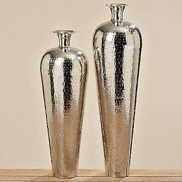 Immo Große Vase Carrol 63cm Höhe Aluminium Poliert Silber Bodenvase