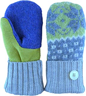 product image for Jack & Mary Designs Handmade Kids Fleece-Lined Wool Mittens, Made from Recycled Sweaters in the USA (gray/purple/green, Large)