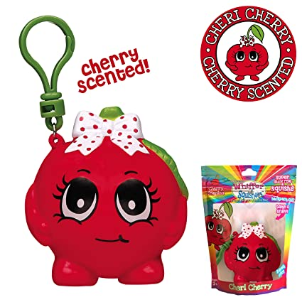 Whiffer Squishers Cheri Cherry Slow Rising Squishy Toy Cherry Scented Backpack Clip