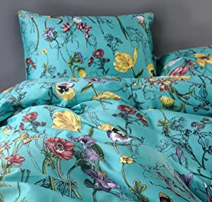 Vintage Botanical Flower Print Bedding 400tc Cotton Sateen Romantic Floral Scarf Duvet Cover 3pc Set Colorful Antique Drawing of Summer Lilies Daisy Blossoms (Queen, Blue)