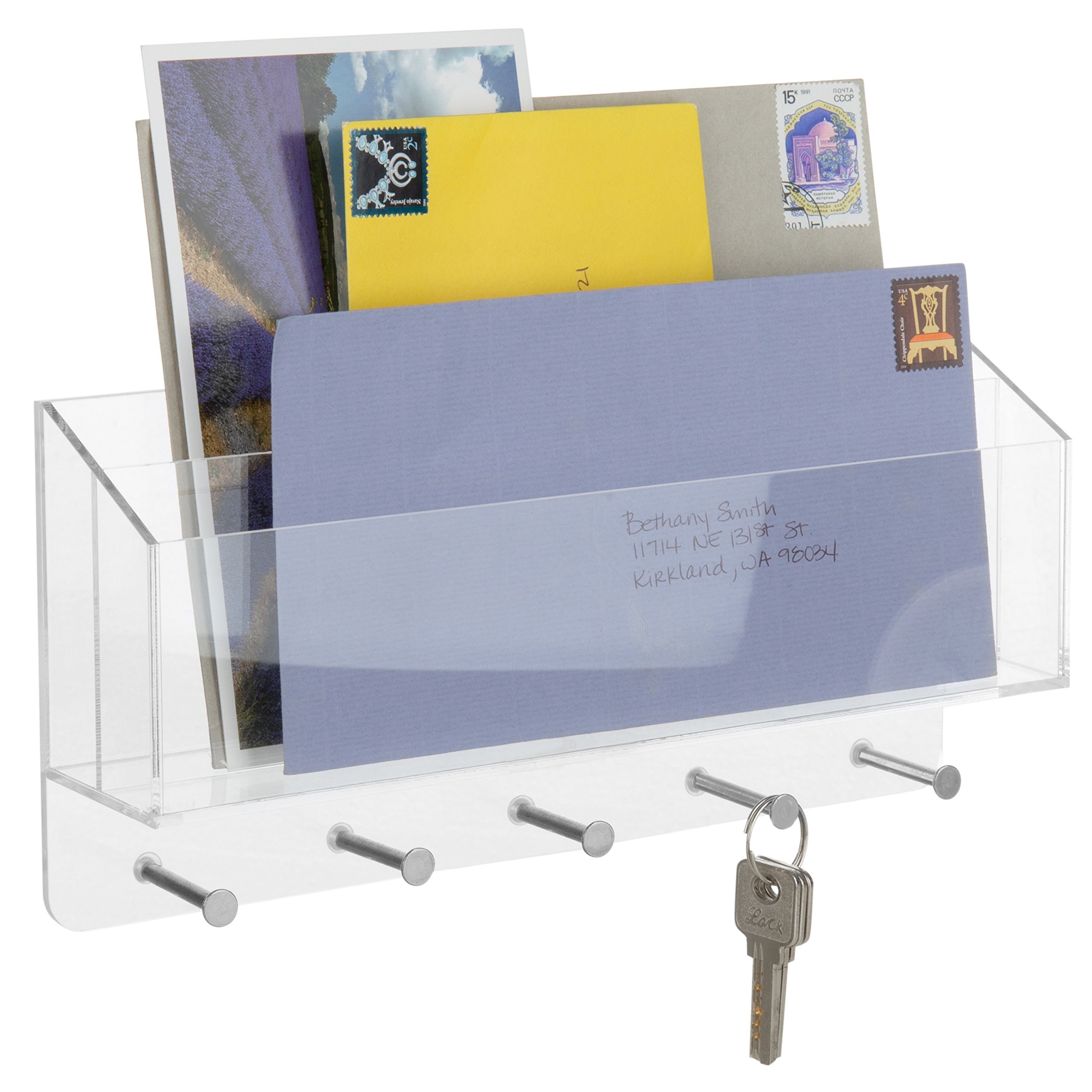 MyGift 2-Slot Clear Acrylic Wall-Mounted Mail Sorter with 5 Key Hooks