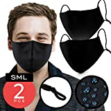 Black Cotton Mouth Cover – Pack of 2 - FITS ALL ADULTS – Waterproof & Coated with Swiss SG Tech on USA Satin Cotton with Nose