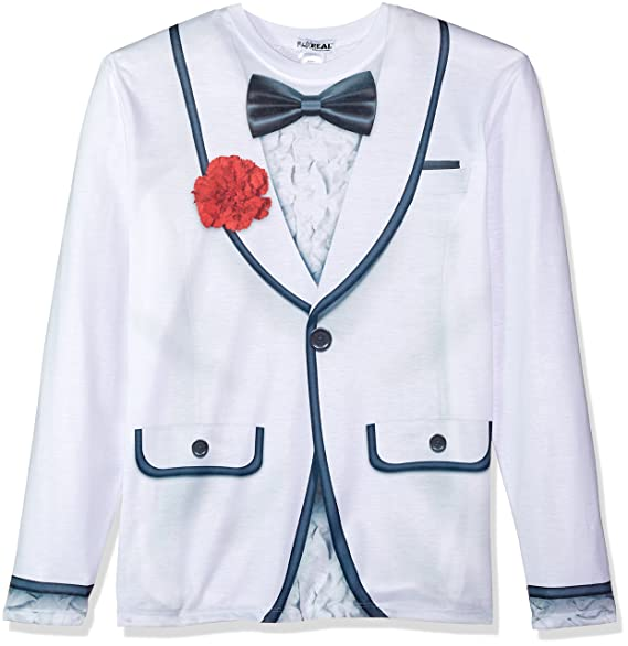 Amazon.com: Faux Real Men Tux Impreso Blanco de la manga ...