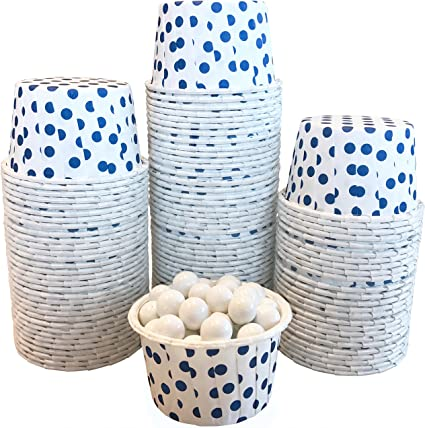 Blue with White Dots Candy Nut Mini Baking Paper Treat Cups Bulk 100 Pack