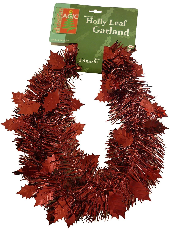 2.4 Metre Length (8FT) Holly Leaf Tinsel Garland In Dark Red/ Burgundy (PM33)