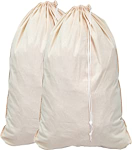 Elina Home Pack 2 Laundry Extra Large 100% Cotton Canvas Heavy Duty Bags-Natural Cotton-28x40-Versatile-Multi Use-Santa Sack, One Size, Beige